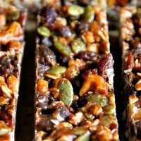 . no-bake sweet and salty trail mix granola bars .