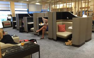The main business lounge is airy, with these great pod chairs