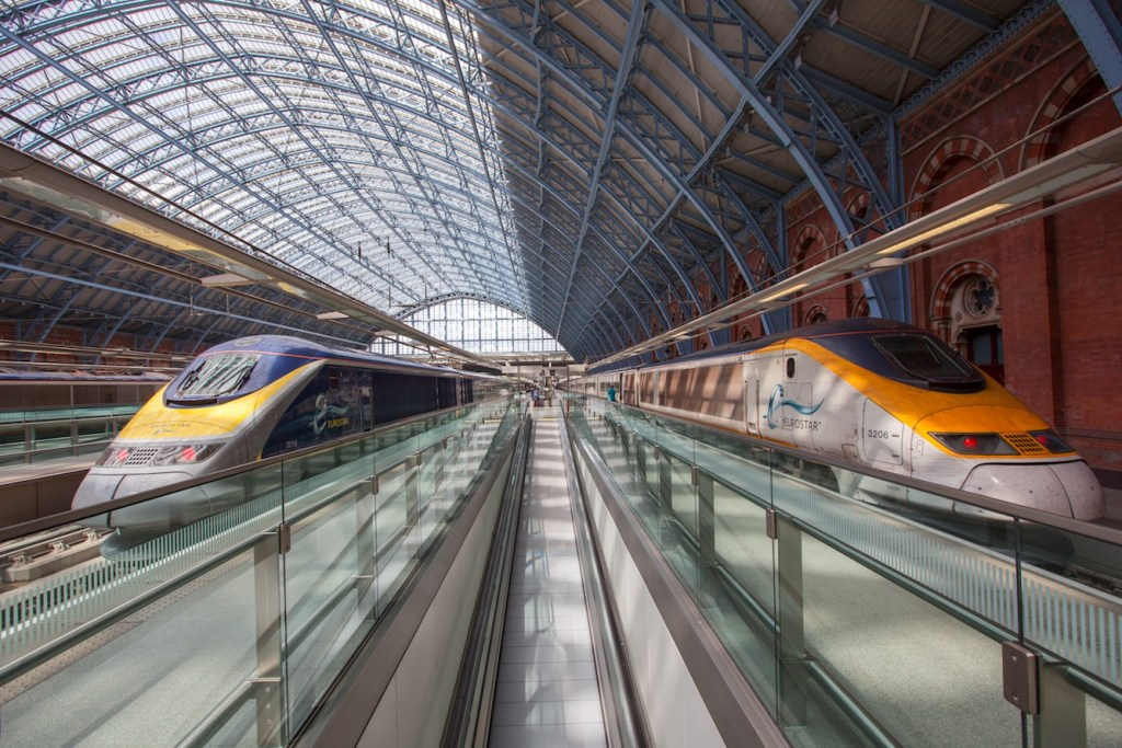 Refurbished (left) and original (right) Eurostar trains fit neatly into London's iconic St Pancras International station