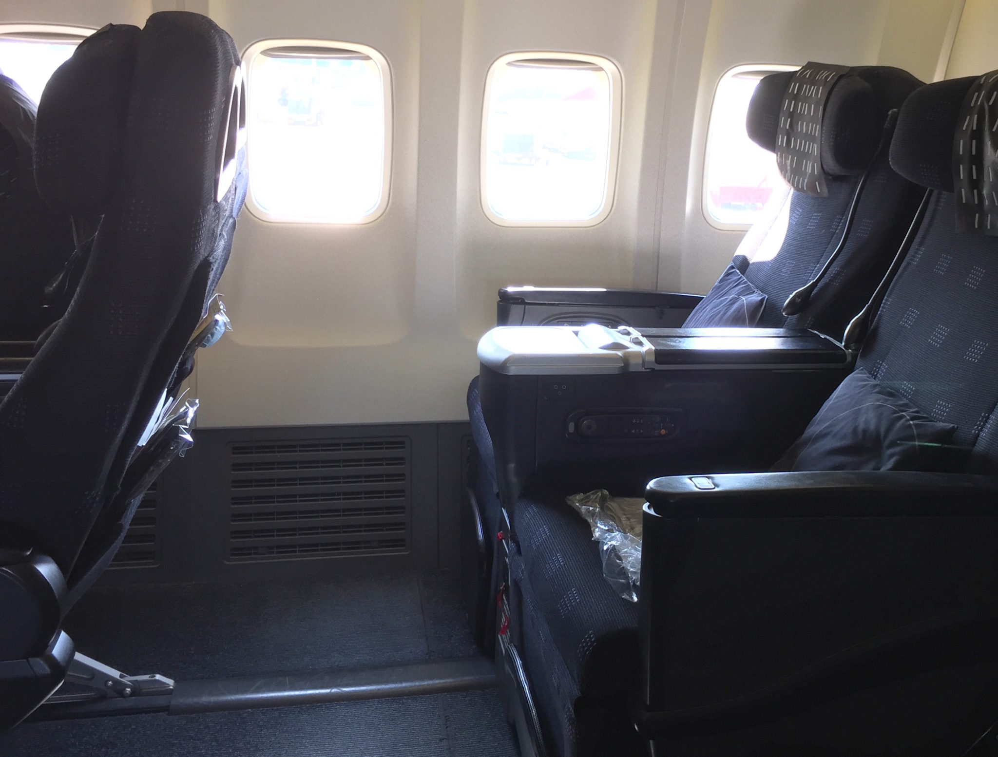 JAL's business class seating on its international 737 fleet is among the world's most generous. Image John Walton