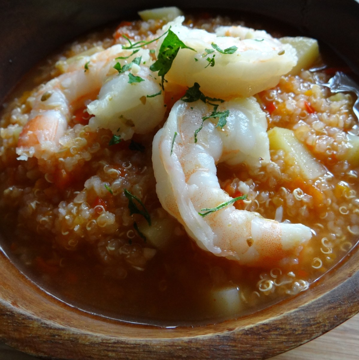 Peruvian Quinoa Soup with Coriander Shrimp