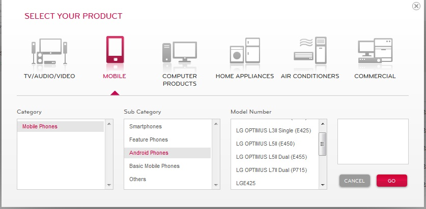 Then Select Your LG Mobile Model Number and Click GO as shown below in