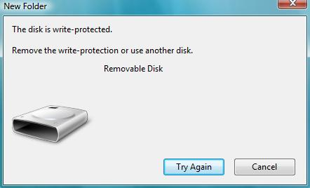 The Disk is Wrie Protected Error