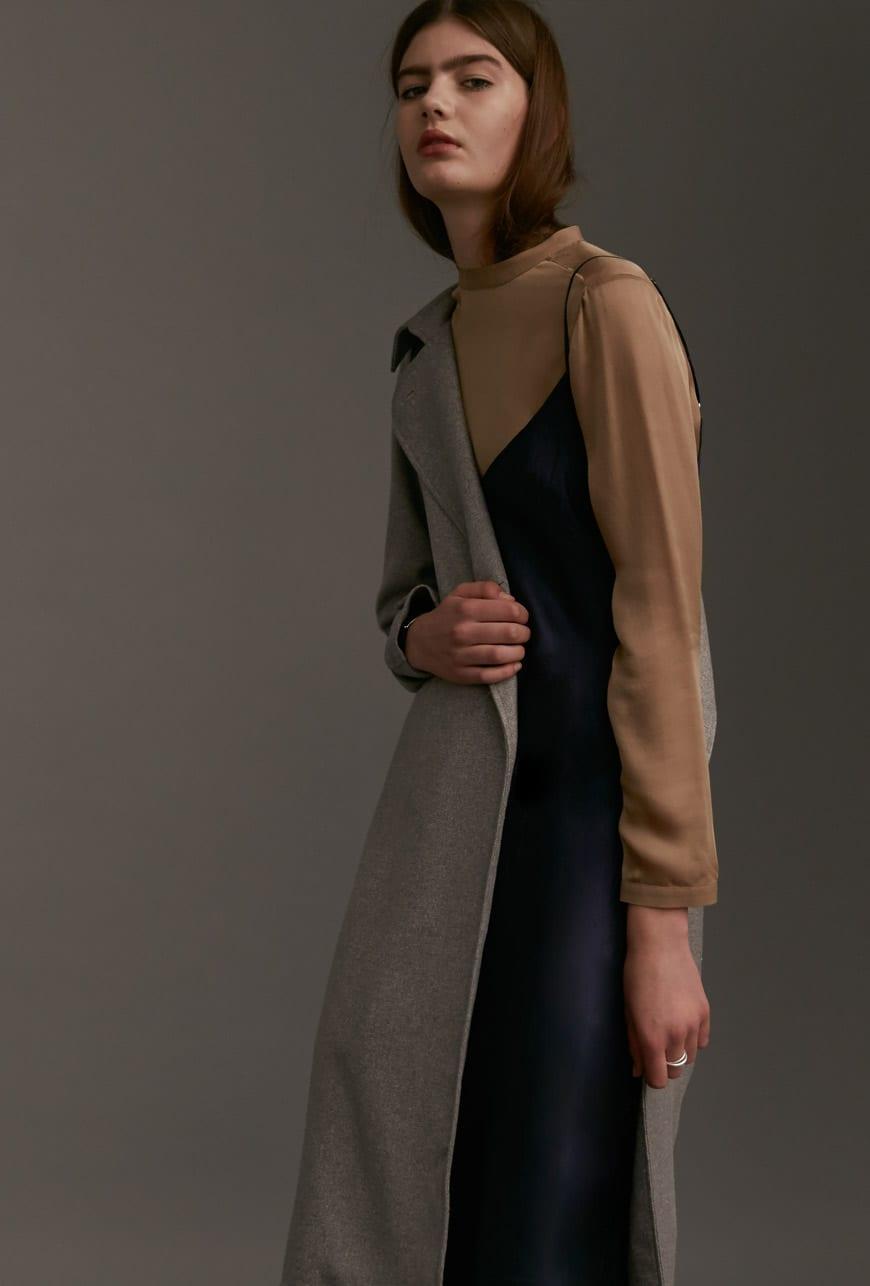 VANISHING ELEPHANT coat; ORGANIC BY JOHN PATRICK dress; JAC+ JACK top.