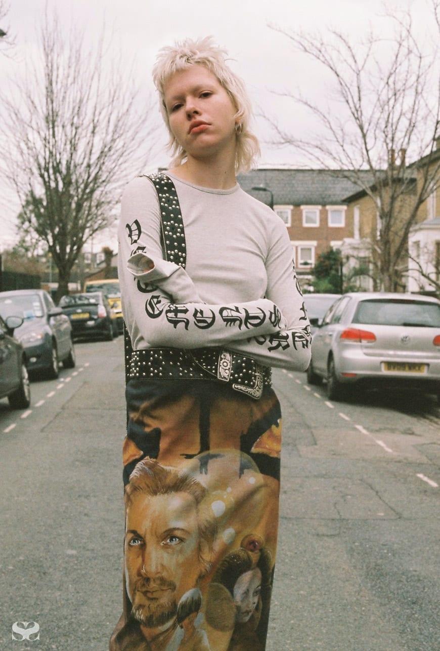 VETEMENTS top, skirt and belt.