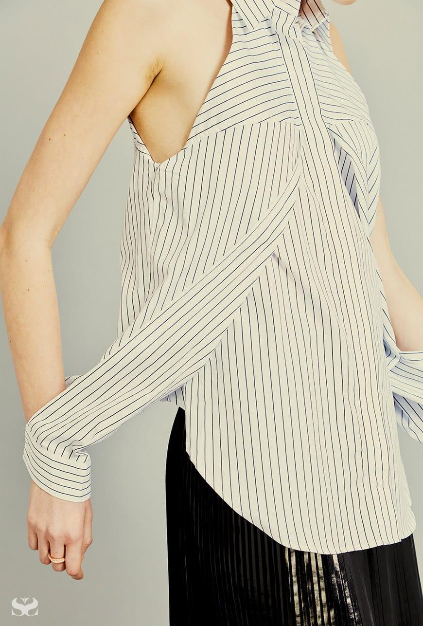 DION LEE shirt; EMPORIO ARMANI skirt.