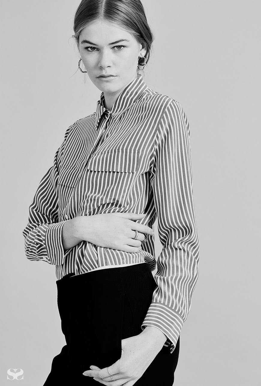 EQUIPMENT shirt; BASSIKE pants.