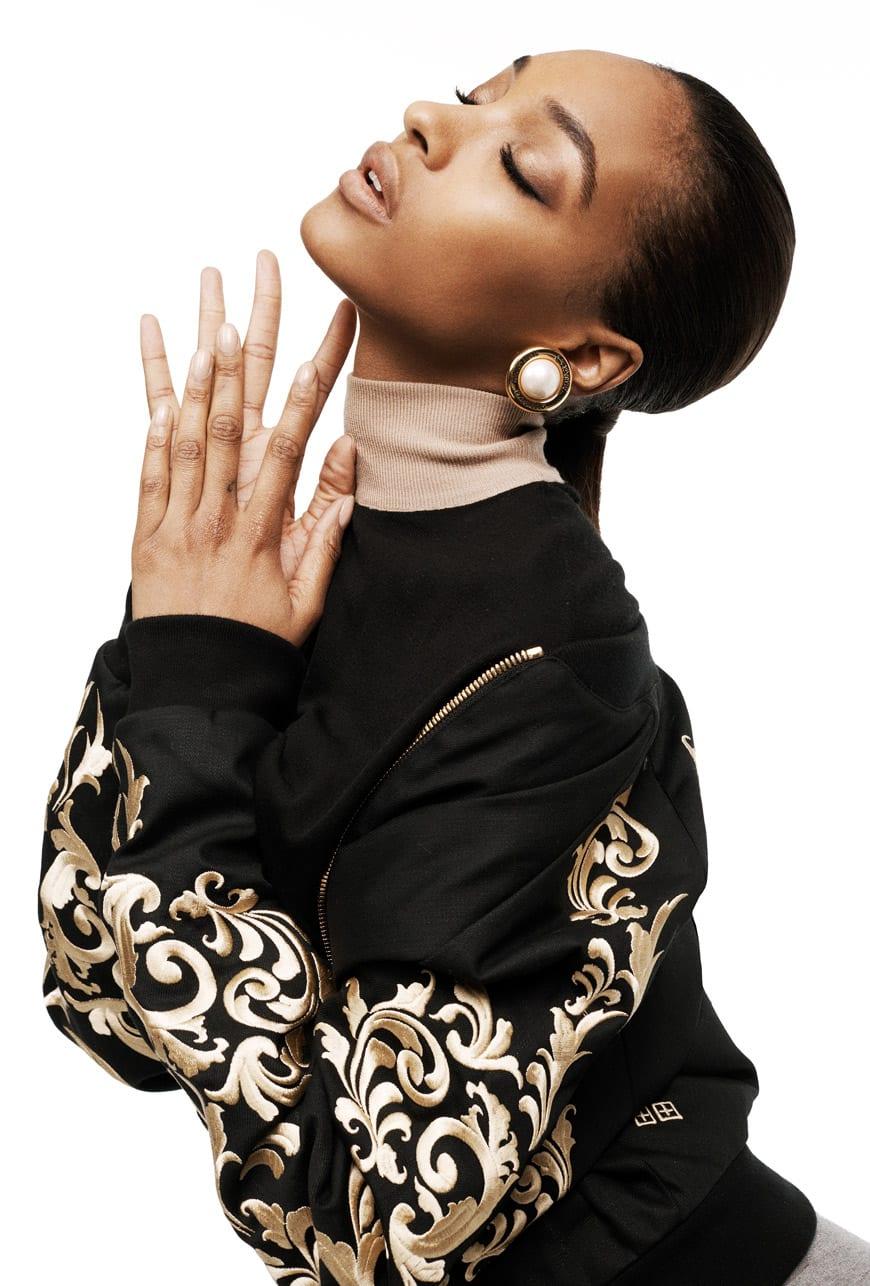 KSUBI jacket; GIVENCHY top; 3.1 PHILLIP LIM skirt; vintage CHANEL earrings from Liz Mendez Vintage.