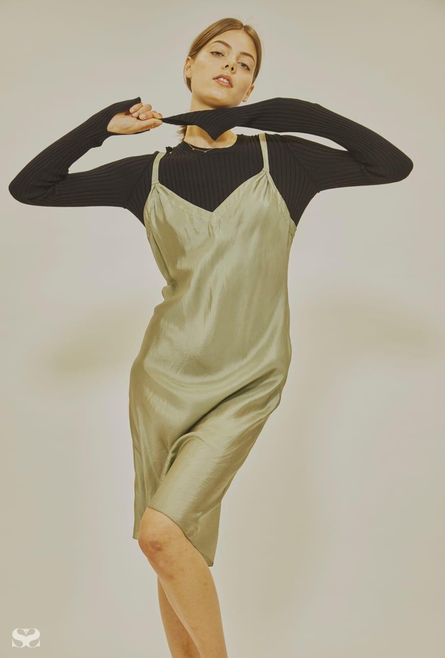 LEE MATTHEWS dress; MM6 MAISON MARGIELA top from My Chameleon; SARAH & SEBASTIAN necklaces.