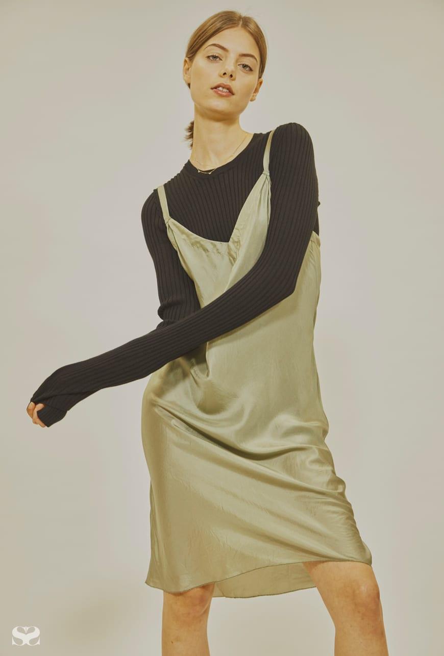 LEE MATHEWS dress; MM6 MAISON MARGIELA top from My Chameleon; JAMES & IRISA rings (worn throughout).