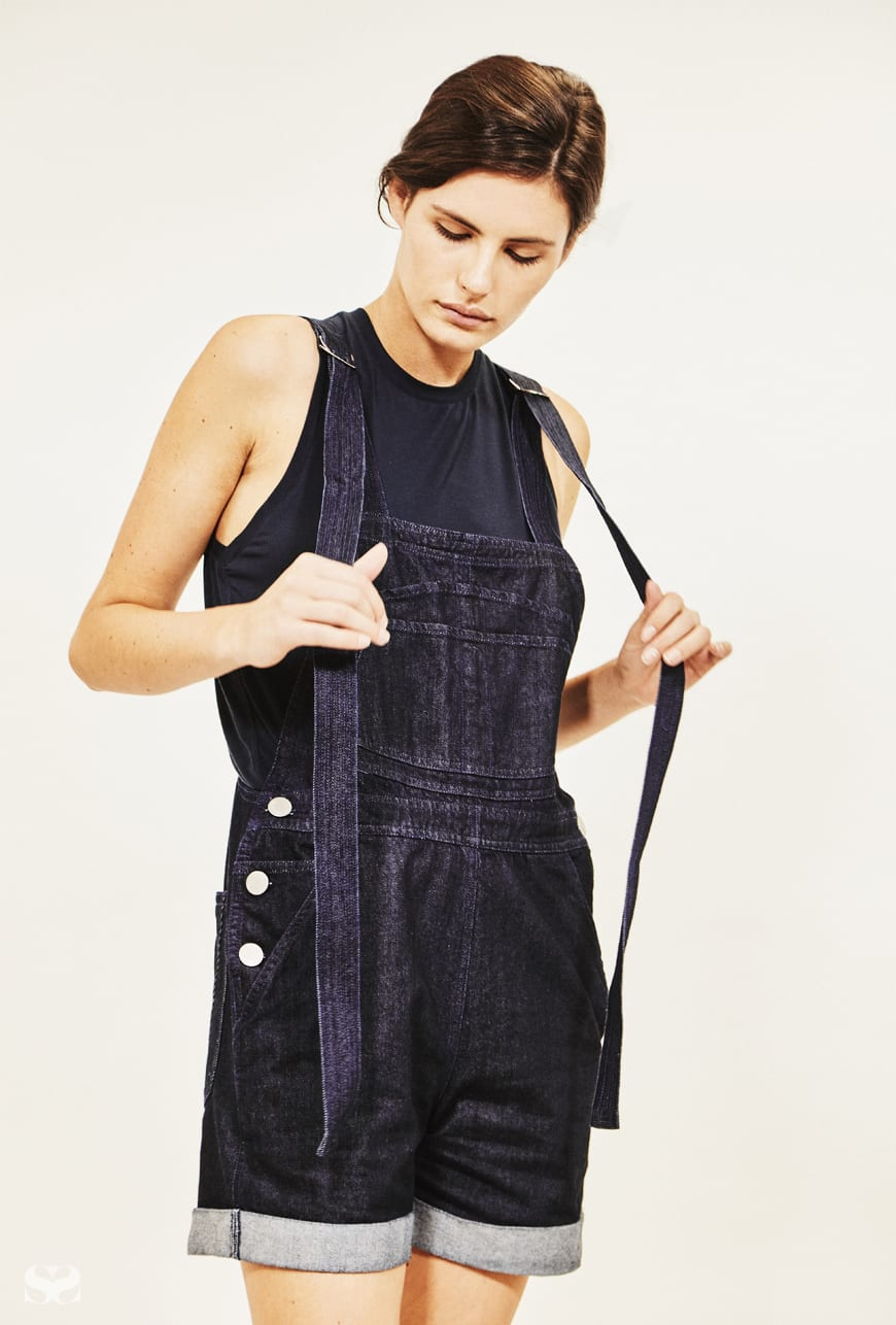 VALE DENIM overalls; KIT AND ACE top.