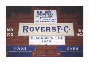 Wall at Ewood Park with price of ticket.
