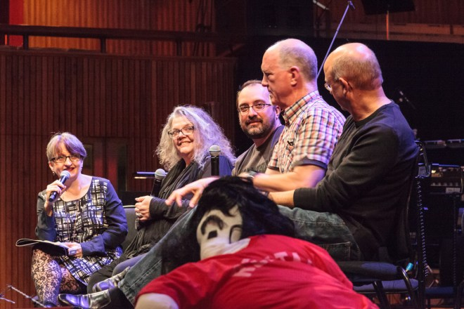 Left to right: Gillian Moore (Head of Classical Music at the Southbank Centre), Gail Zappa, Joe Travers (drummer & Vaultmeister), Scott Thunes (bass player & former Zappa band member), Jurjen Hempel (conductor)