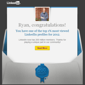 LinkedIn Top 1% most viewed profiles of 2012