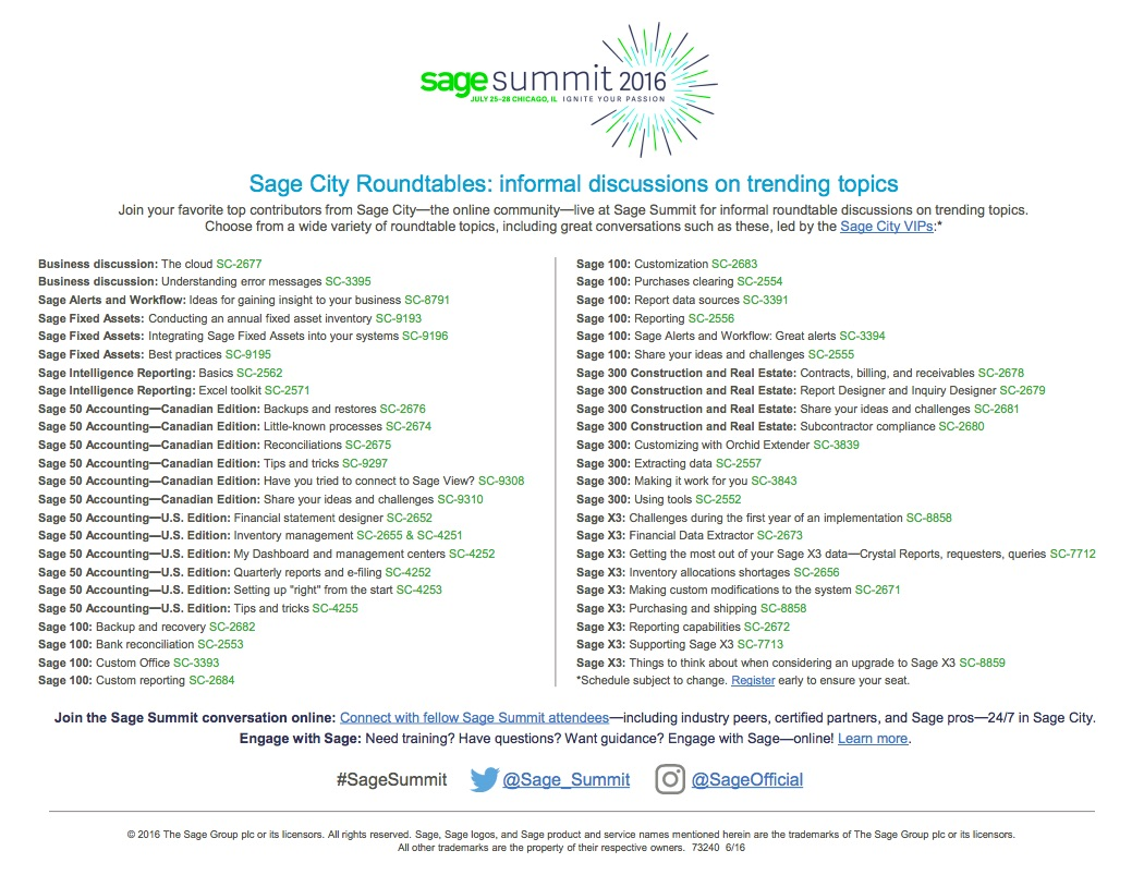 Sage Summit 2016: Sage City Roundtable Discussions