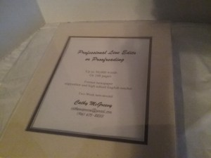A certificate for professional editingproofreading services offered by our own Cathy McGreevy