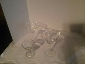 A set of margarita glasses and ice cream glasses