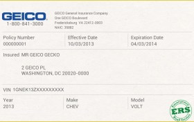 Free auto insurance card template