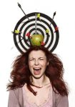 crying girl portrait with apple, darts and arrows