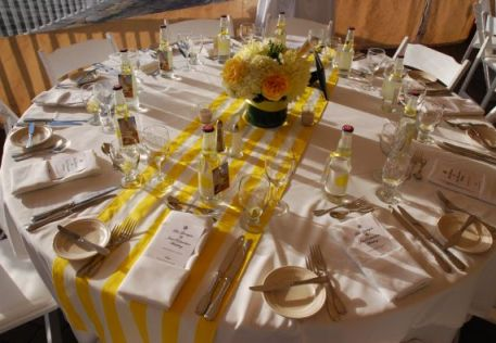 round tables with table runners