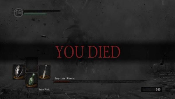 You Died prompt in Dark Souls.