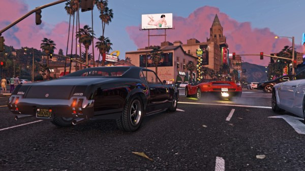 GTA V Screenshot of sports cars on the streets