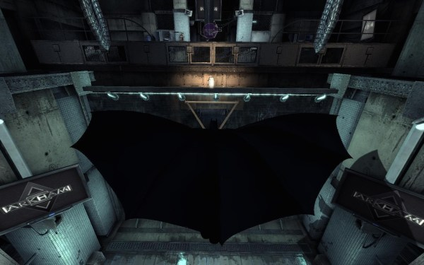 Batman from Arkham Asylum gliding in the air