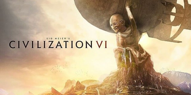 Gandhi holding a nuke in Civilization VI