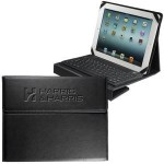 This wireless Bluetooth keyboard connects to iPads and similar-sized tablets making it an ideal solution for those working and traveling. It also includes a faux leather case to display a logo.