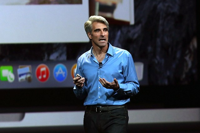 SAN FRANCISCO, CA - JUNE 02:  Apple Senior Vice President of Software Engineering Craig Federighi speaks during the Apple Worldwide Developers Conference at the Moscone West center on June 2, 2014 in San Francisco, California. Tim Cook kicked off the annual WWDC which is typically a showcase for upcoming updates to Apple hardware and software. The conference runs through June 6.  (Photo by Justin Sullivan/Getty Images)