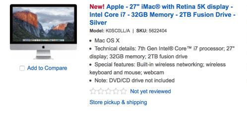 Un nuovo iMac Retina con Kaby Lake appare su Best Buy, ma non convince del tutto
