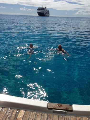 Swimming with Cruise Ship.
