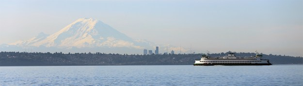 The Pacific Northwest. Ferry's and snow capped peaks.