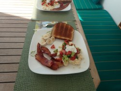 Laura cooked breakfast, yum!