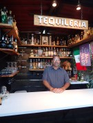 Robert, owner showing us the tequila bar! 100 bottles wow.