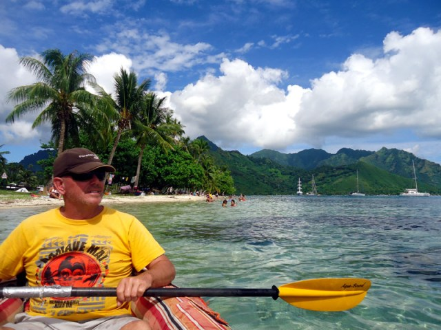 Kayaking around the Opunohu Bay anchorage