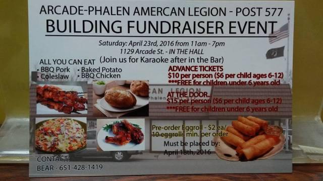 American Legion Post 577 Fundraiser April 23, 2016; 11am to 7 pm