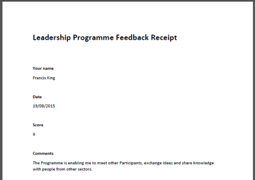 The PDF document contains a record of the responses submitted in the form.