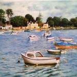 Boats and Buoys A3 print pastel paper