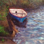 Little Blue Boat A3 print on pastel paper