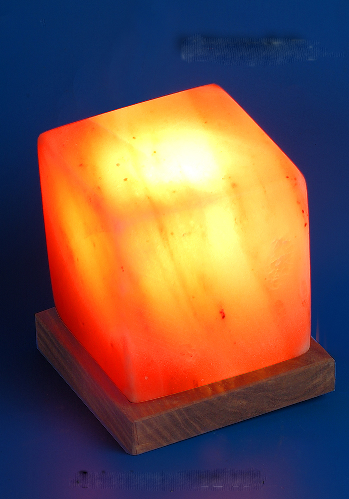 Cube Shape Salt Crystal Lamp Himalayan Attached Wooden Base LCB 880 Saltlamps-R-Us