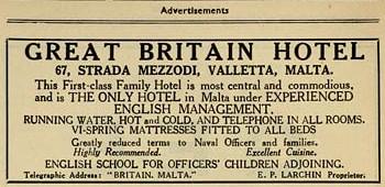 Inserzione del Great Britain Hotel di Malta - 1939