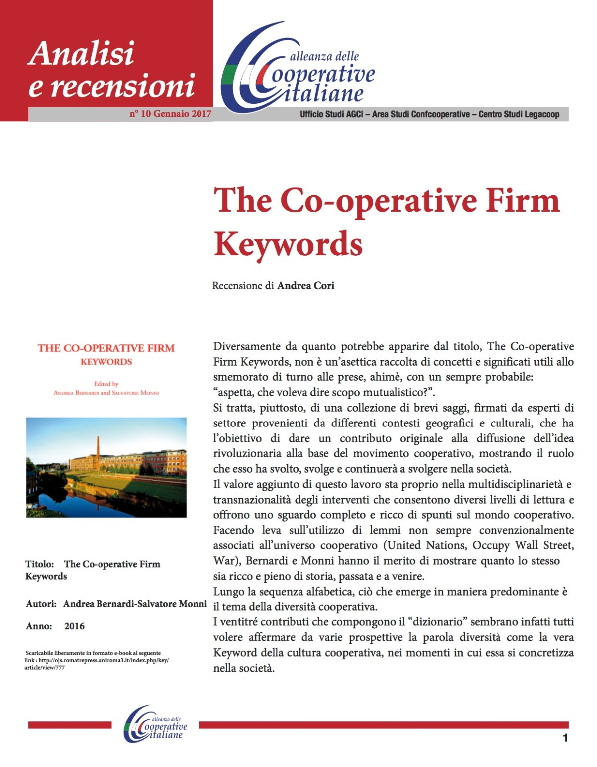 """The Co-operative Firm Keywords"" Recensione di Andrea Cori"