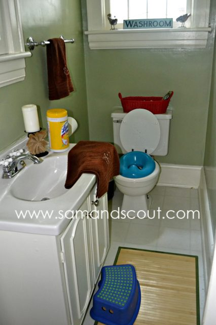 Yep, this is a photo of my bathroom.  (Who am I?) The scene was quite similar upstairs too.