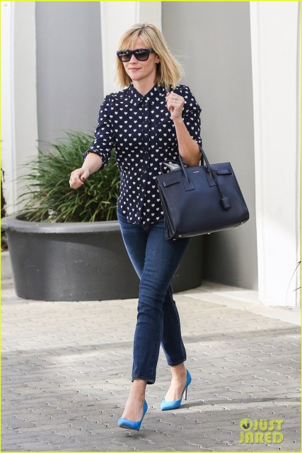 January 2014 - Simple patterned button up, cropped skinny jeans, and colorful shoes. (JustJared.com)