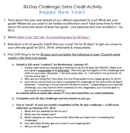 30-Day Challenge Extra Credit Activity