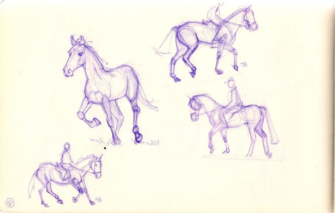 sketches of horses and riders