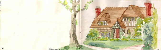 watercolor painting of a cottage