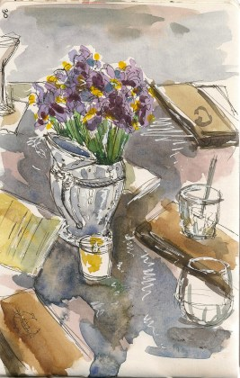 watercolor of a table