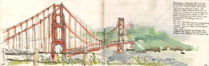 watercolor of Golden Gate at sunrise.